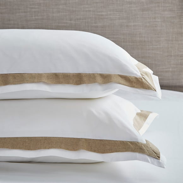 Dorma Purity Hemsby 300 Thread Count Cotton Sateen Oxford Pillowcase Pair White