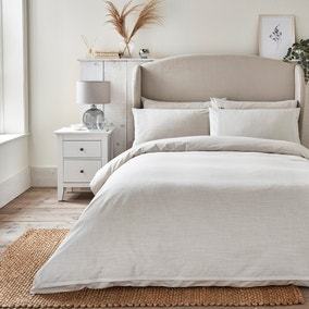 Dorma Purity Silbury Silver Silk Trim 300 Thread Count Duvet Cover and Pillowcase Set