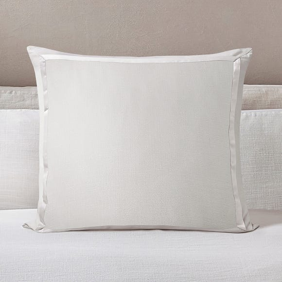 Dorma Purity Silbury Silver Silk Trim 300 Thread Count Continental Pillowcase Beige