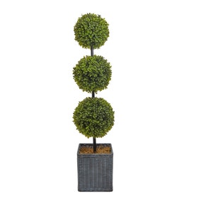Artificial Faux Boxwood 3 Ball Topiary Tree