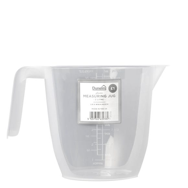 Dunelm Plastic 2L Measuring Jug Clear