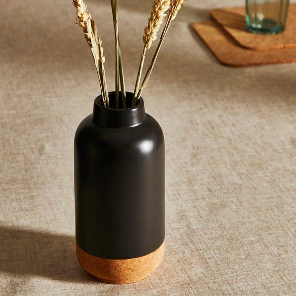 Cork Ceramic Vase 20cm Black Black