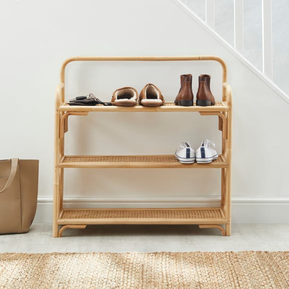 French Cane 3 Tier Shelving Unit Natural (Brown)