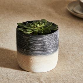 Ceramic Textured Mono Planter 13cm