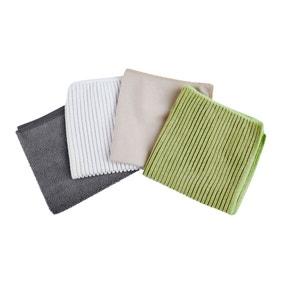Antibacterial 4 Pack Microfibre Cloths