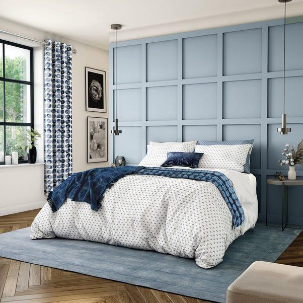 Helena Springfield Moda Woven Dash Indigo 100% Cotton Duvet Cover and Pillowcase Set  undefined
