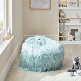Kids Skylar Pale Blue Mongolian Faux Fur Lounger