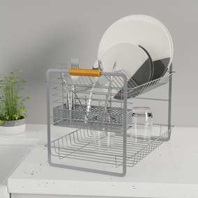 Grey and Bamboo Two Tier Drainer