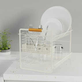 Cream and Bamboo Two Tier Drainer