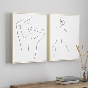 Set of 2 Nude Lady Capped Canvas'