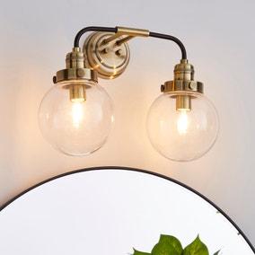Broden Bathroom 2 Light Wall Light Antique Brass
