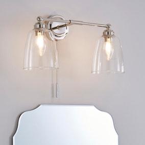 Dorma Uxbridge Bathroom 2 Light Wall Light Nickel