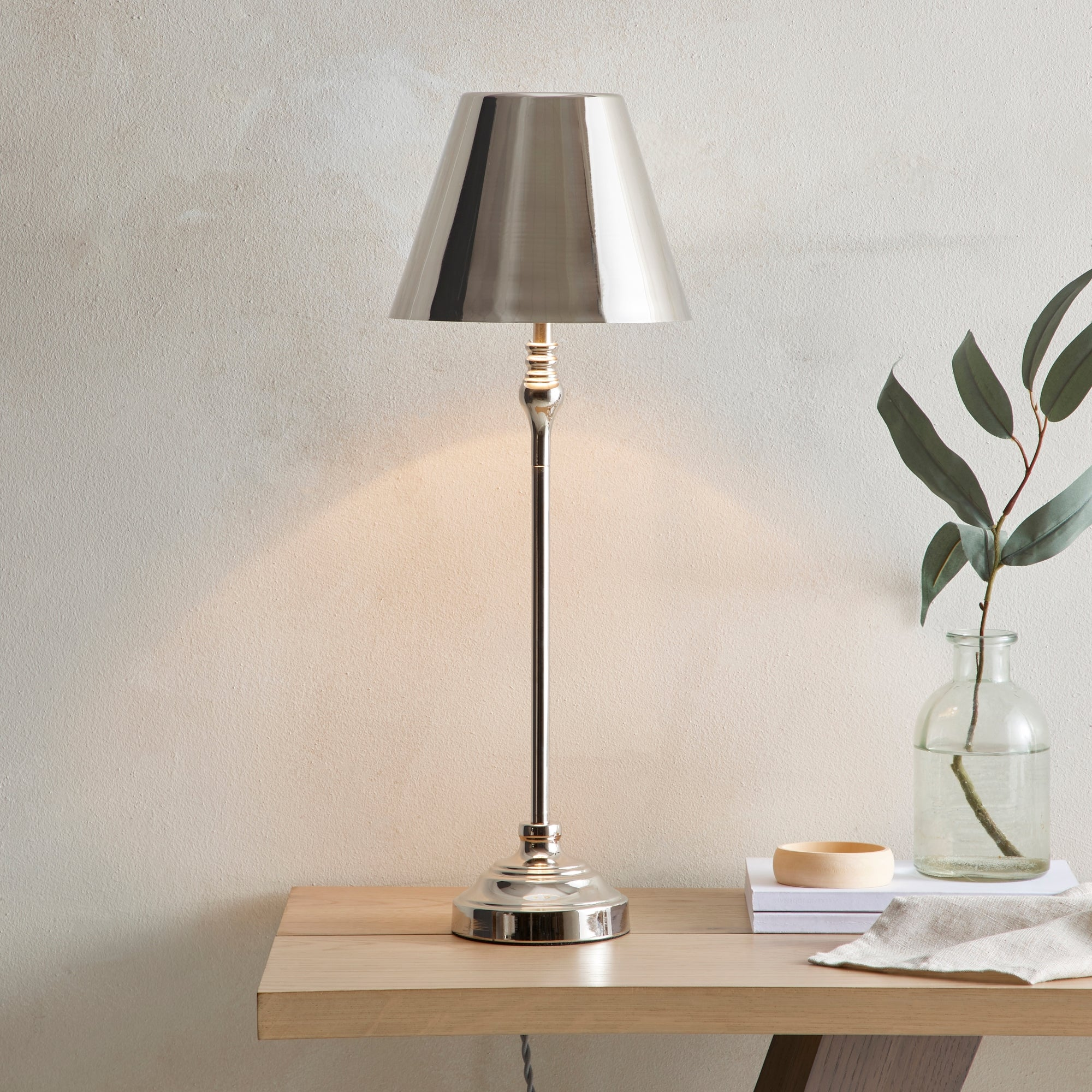 Dorma Bedford Table Lamp Polished Nickel Silver and Grey