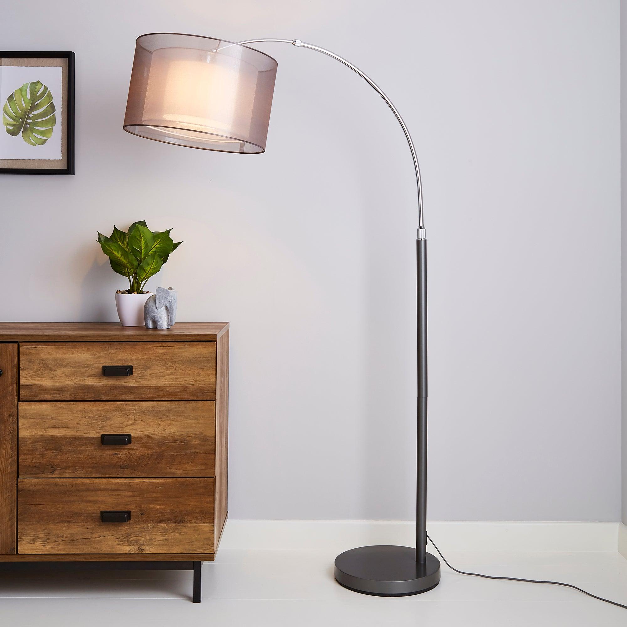 Echo Organza Arc Floor Lamp Grey Grey
