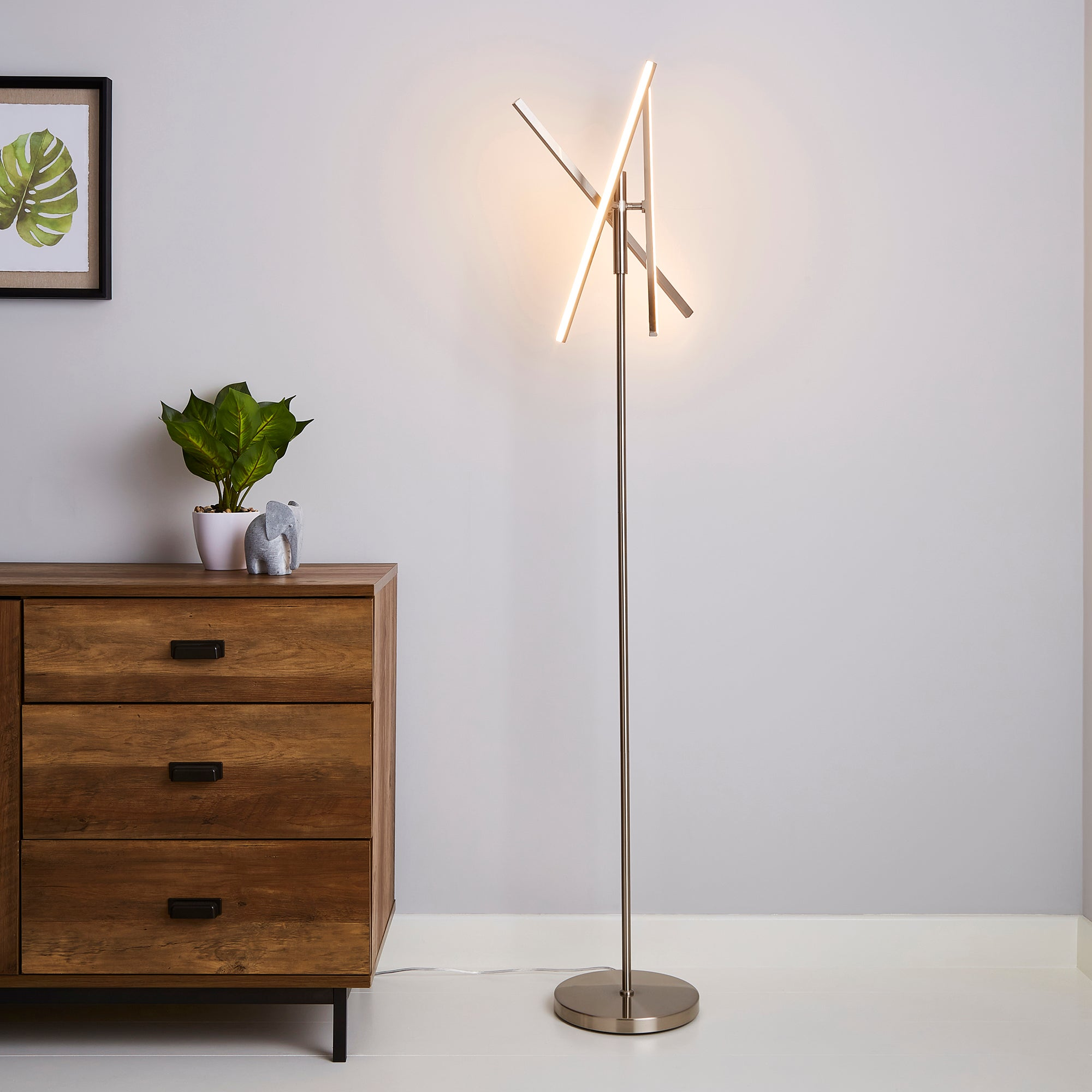 Talis Integrated LED Touch Dimmable Floor Lamp Brown