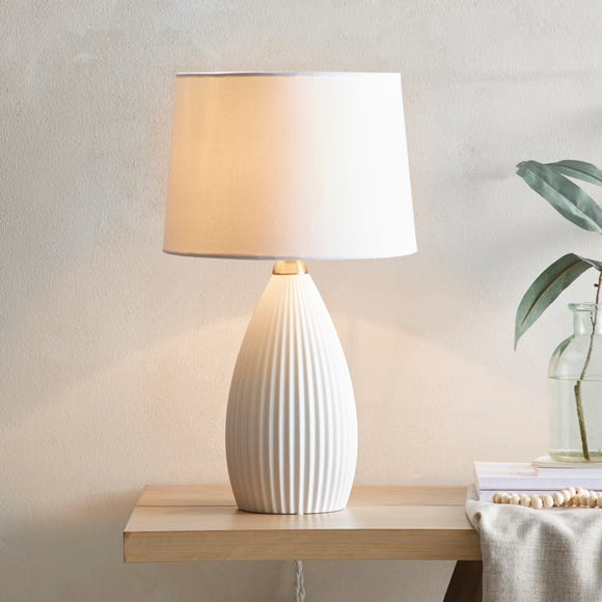 Dorma Purity Dual Lit Ribbed Porcelain Table Lamp Porcelain