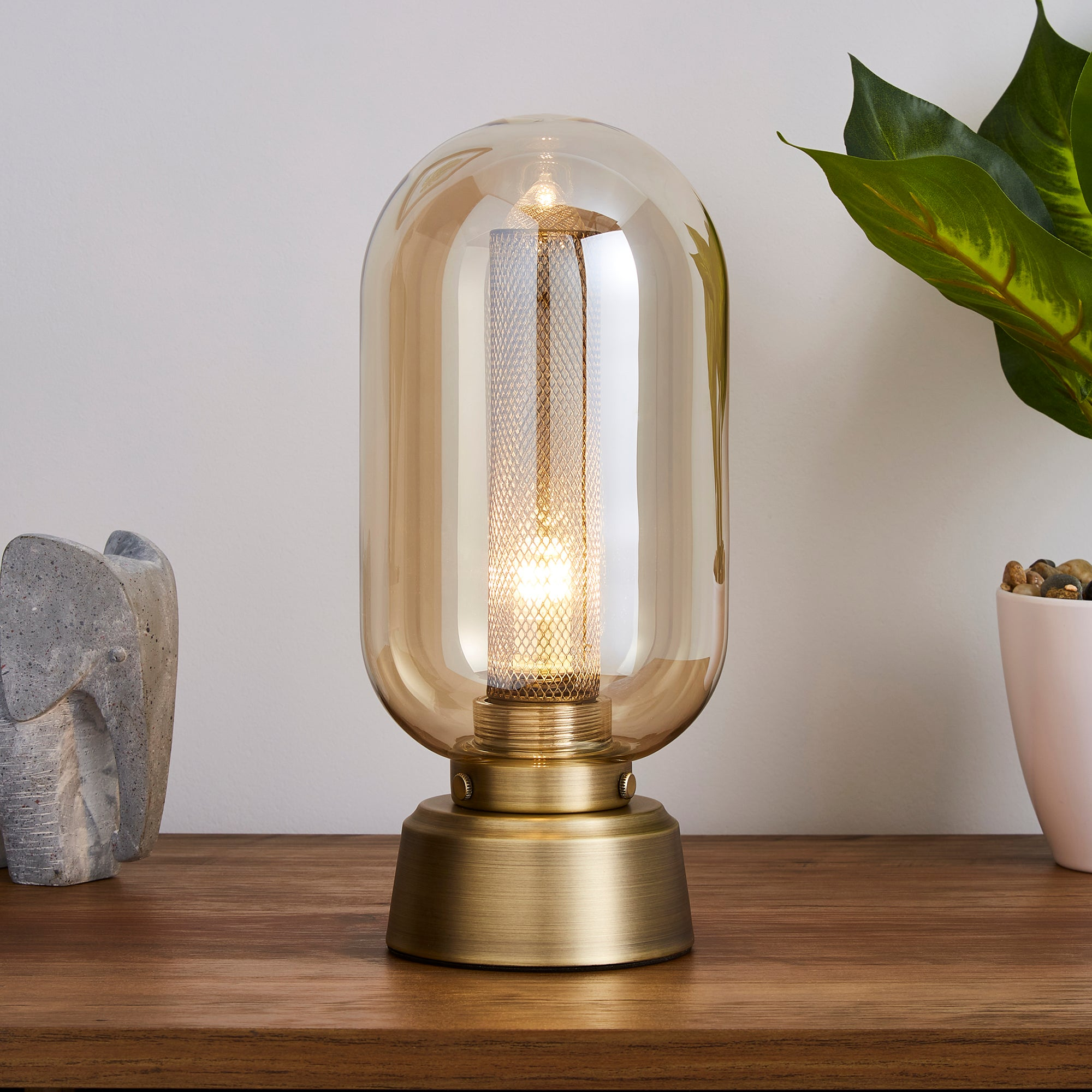 Safi Mesh Detail Touch Table Lamp Antique Brass Antique Brass