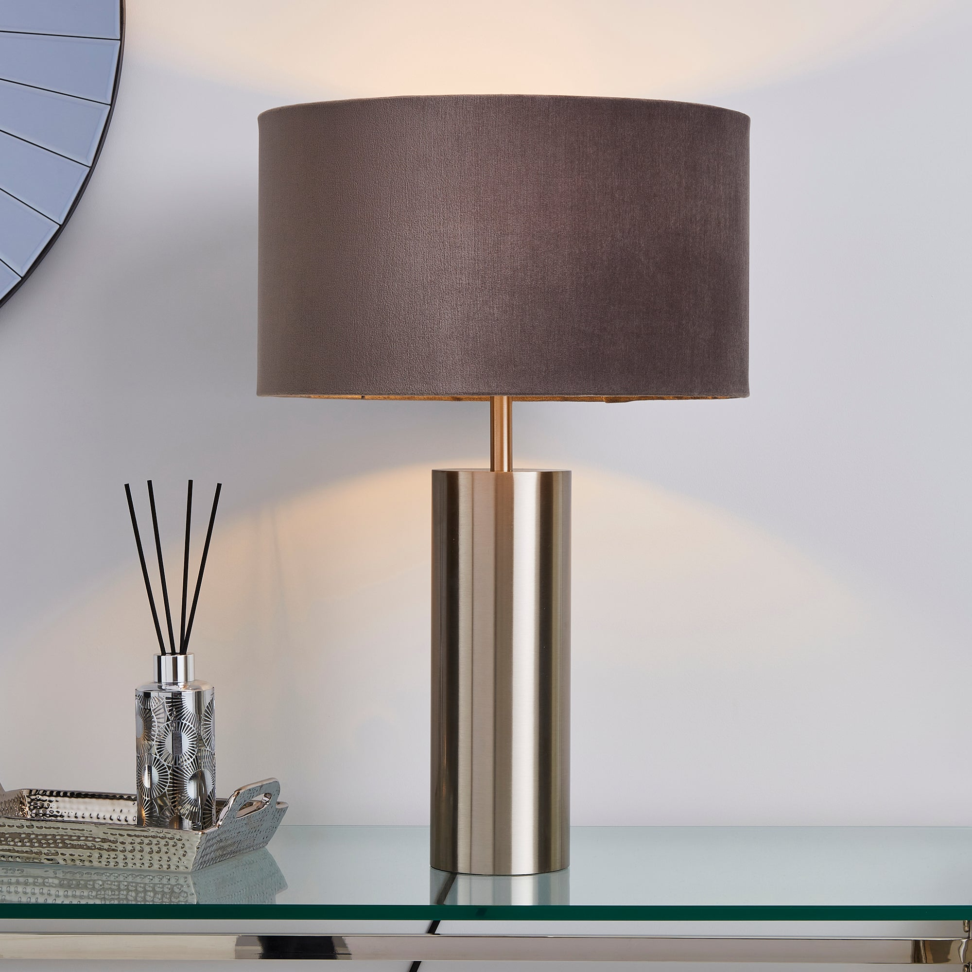 Nesa Brushed Silver and Grey Touch Table Lamp Grey
