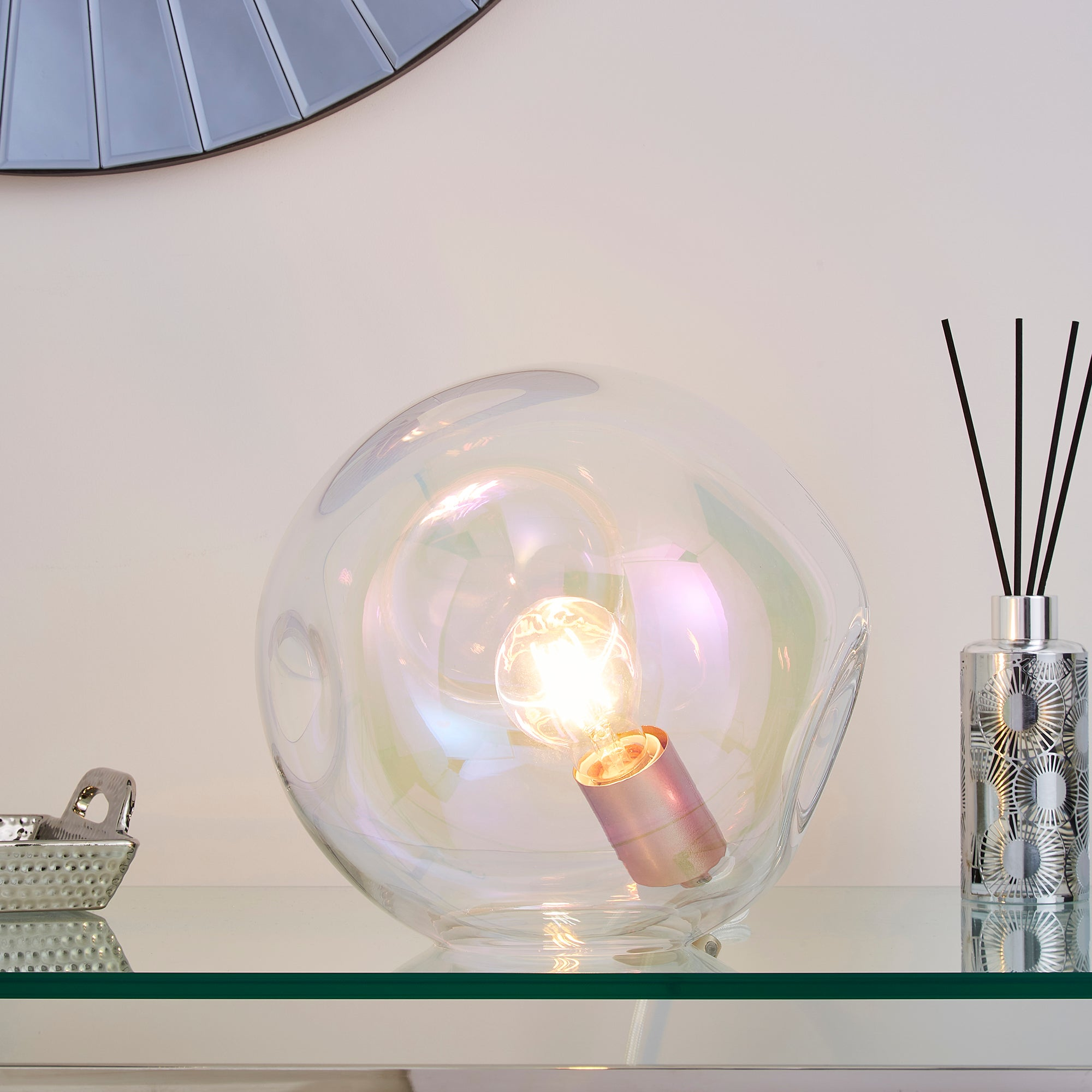 Alexis DimpIed Glass Table Lamp Iridescent Clear