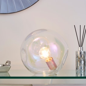 Alexis DimpIed Glass Table Lamp Iridescent