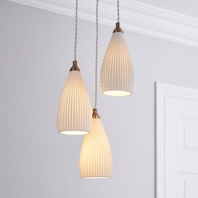 Dorma Purity Ribbed Porcelain Cluster Ceiling Fitting