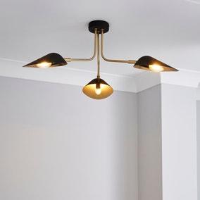 Savona 3 Light Ceiling Fitting Black