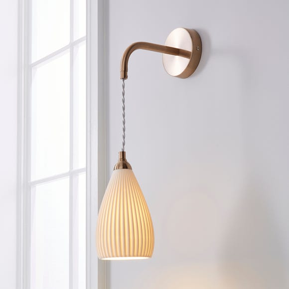 Dorma Purity Ribbed Porcelain Wall Light White