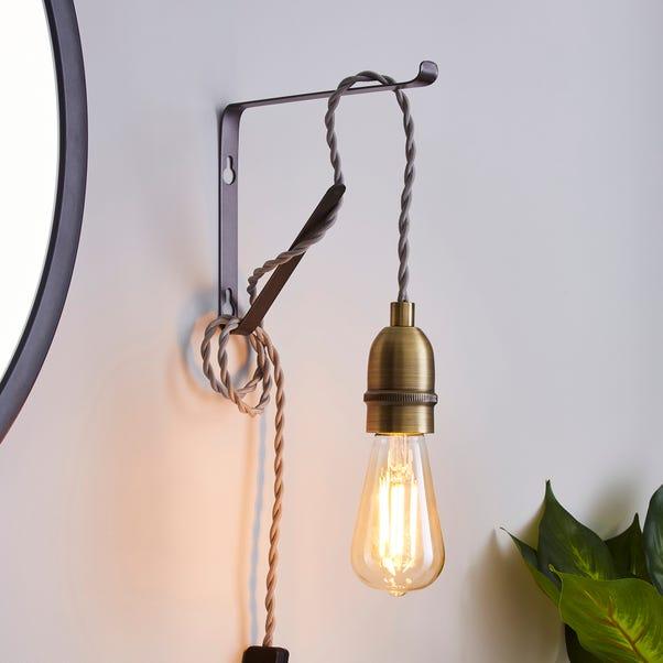 Marsden Plug in Flex Set Pewter Industrial Antique Brass