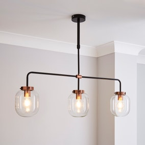 Dayo 3 Light Bar Ceiling Fitting Clear