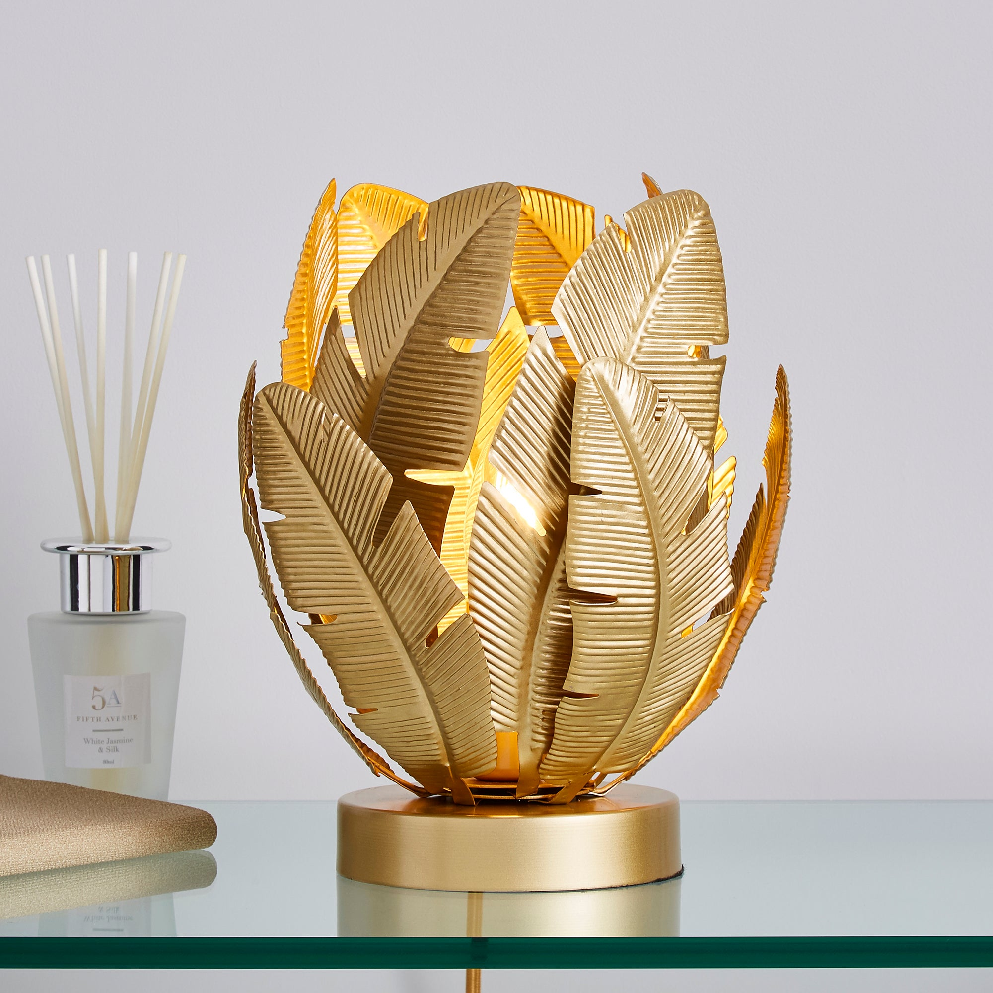 Farrah Palm Leaf Touch Table Lamp Gold Gold