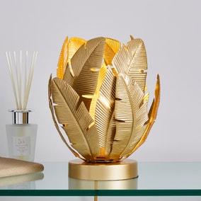 Farrah Palm Leaf Touch Table Lamp Gold