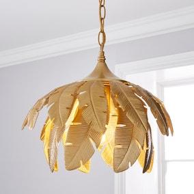 Farrah Palm Leaf Ceiling Fitting Gold