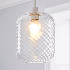 Elodie Ribbed Glass Easy Fit Pendant Clear Lustre