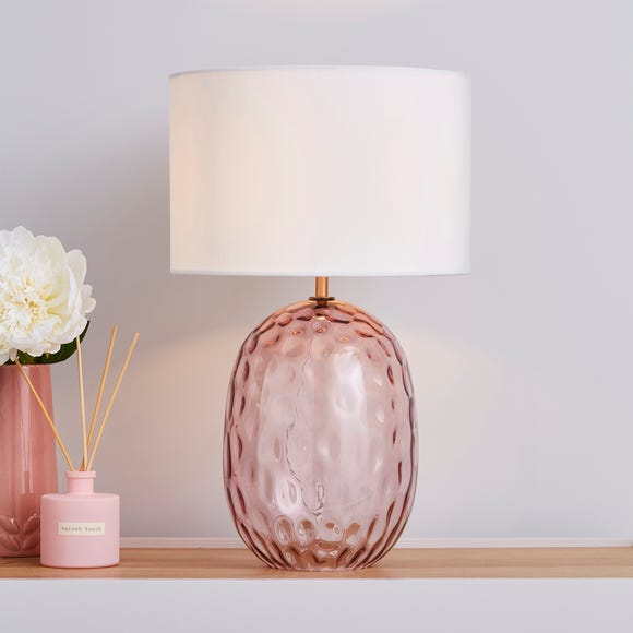 Elodie Dimpled Glass Blush Table Lamp  Blush