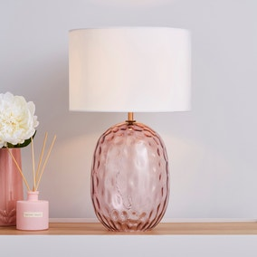 Elodie Dimpled Glass Blush Table Lamp