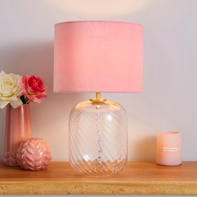 Elodie Ribbed Glass Clear Table Lamp