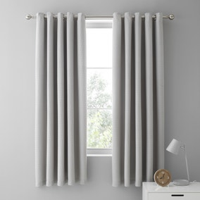 Mini Waffle Grey Blackout Eyelet Curtains