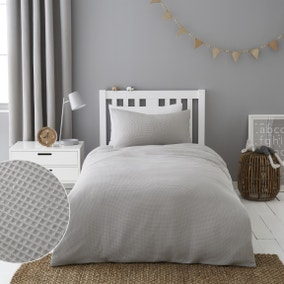 Mini Waffle Grey 100% Cotton Duvet Cover and Pillowcase Set