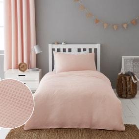 Mini Waffle Shell Pink 100% Cotton Duvet Cover and Pillowcase Set