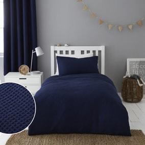Mini Waffle Sailor Blue 100% Cotton Duvet Cover and Pillowcase Set