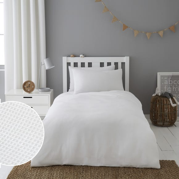 Mini Waffle White 100% Cotton Duvet Cover and Pillowcase Set  undefined