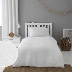 Mini Waffle White 100% Cotton Duvet Cover and Pillowcase Set
