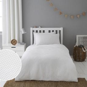 Mini Waffle White 100% Cotton Duvet Cover and Pillowcase Set