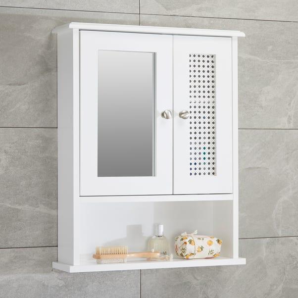 Palermo Cane White Wall Mirror Cabinet White