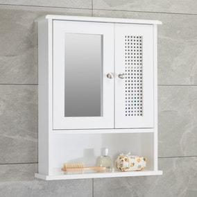 Palermo Cane White Wall Mirror Cabinet