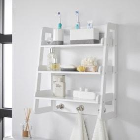 Jasper White Wall Mounted Shelves with Chrome Hooks
