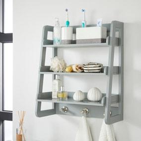 Jasper Grey Wall Mounted Shelves with Chrome Hooks