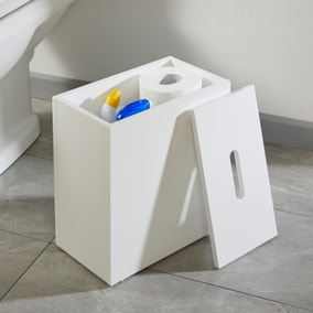 Jasper White Gloss Bathroom Tidy with Removable Lid