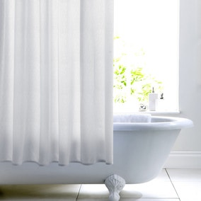 White Woven Cotton with Peva Lining Shower Curtain
