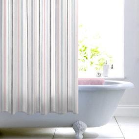 Heavenly Hummingbird Blush Stripe Shower Curtain